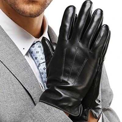 "Harrms Best Touchscreen Italian Nappa Genuine Leather Gloves for men's Texting Driving Cashmere Lining (XL-9.4""(US Standard Size), BLACK(CASHMERE LINING ))"