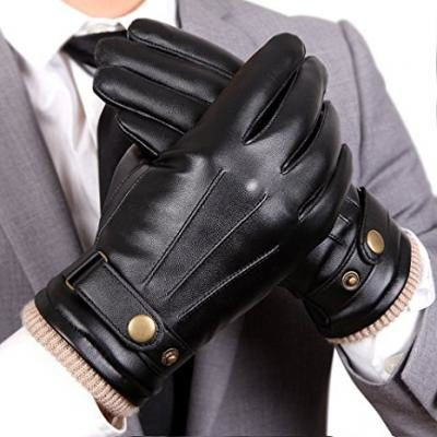 Mens Touchscreen Texting Winter PU Leather Gloves Driving Outdoor Long Fleece Lining (9, Black)