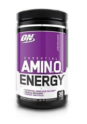 Optimum Nutrition Amino Energy with Green Tea and Green Coffee Extract, Flavor: Concord Grape, 30 Servings