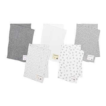 Burt's Bees Baby - 5 Pack of Burp Cloths, 100% Organic Cotton (1 Cloud, 1 Solid Color, 1 Honey Bee Print, 1 Stripe, 1 Alphabet Bee Print, Heather Grey)