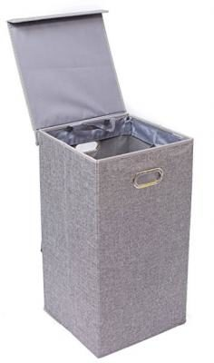 BirdRock Home Single Laundry Hamper with Lid and Removable Liner   Linen   Easily Transport Laundry   Foldable Hamper   Cut Out Handles