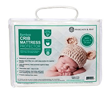 Ultra Soft Waterproof Crib Mattress Protector Pad From Bamboo Rayon Fiber by Margaux & May - Fitted Quilted Mattress Protector Pad for Your Crib. High Absorbency and Stain Protection Baby Cover