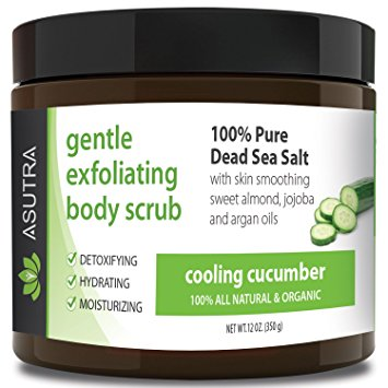 "ORGANIC Exfoliating Body Scrub - ""COOLING CUCUMBER"" - 100% Pure Dead Sea Salt Scrub / Ultra Hydrating & Moisturizing with SKIN SMOOTHING Jojoba, Sweet Almond & Argan Oils - 12oz"