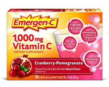 Emergen-C Dietary Supplement Drink Mix with 1000 mg Vitamin C, 0.30 Ounce Packets, Caffeine Free (Cranberry-Pomegranate Flavor, 30 Count)
