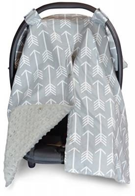 Premium Carseat Canopy Cover and Nursing Cover- Large Arrow Pattern w/ Grey Minky | Best Infant Car Seat Canopy, Boy or Girl | Cool/ Warm Weather Car Seat Cover | Baby Shower Gift 4 Breastfeeding Moms
