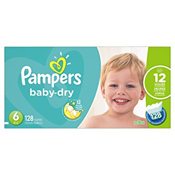 Pampers Baby Dry Diapers Size 6, 128 Count (Packaging May Vary)